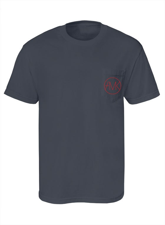 Image of ON SIGHT POCKET TEE / CHARCOAL & RED