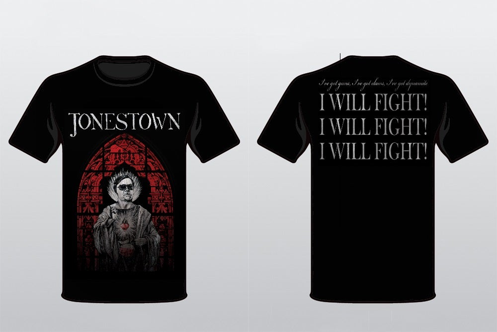 Jonestown uk jonestown jim jones red stained glass t for Big cartel t shirts
