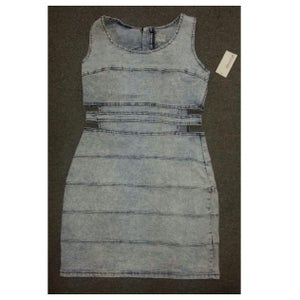 Image of Acid Wash Cut-Out Dress