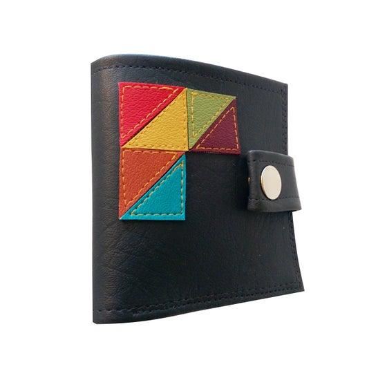 Image of GeoTriangles ) Bifold Wallet With Snap (Plus Zipper)
