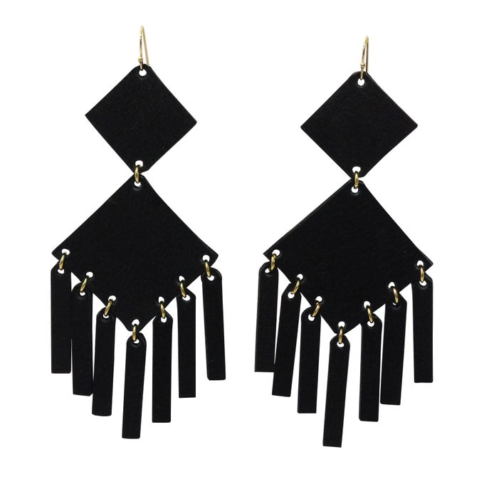 Image of Square Earrings Black Matte Gold