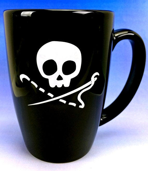 Image of Sewing Skull 14 oz Coffee Mug