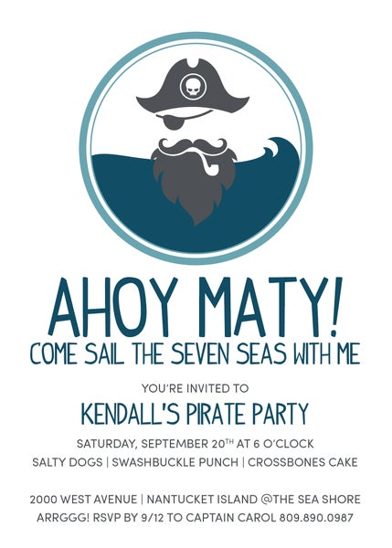 Image of Ahoy Matey Pirate Invitation