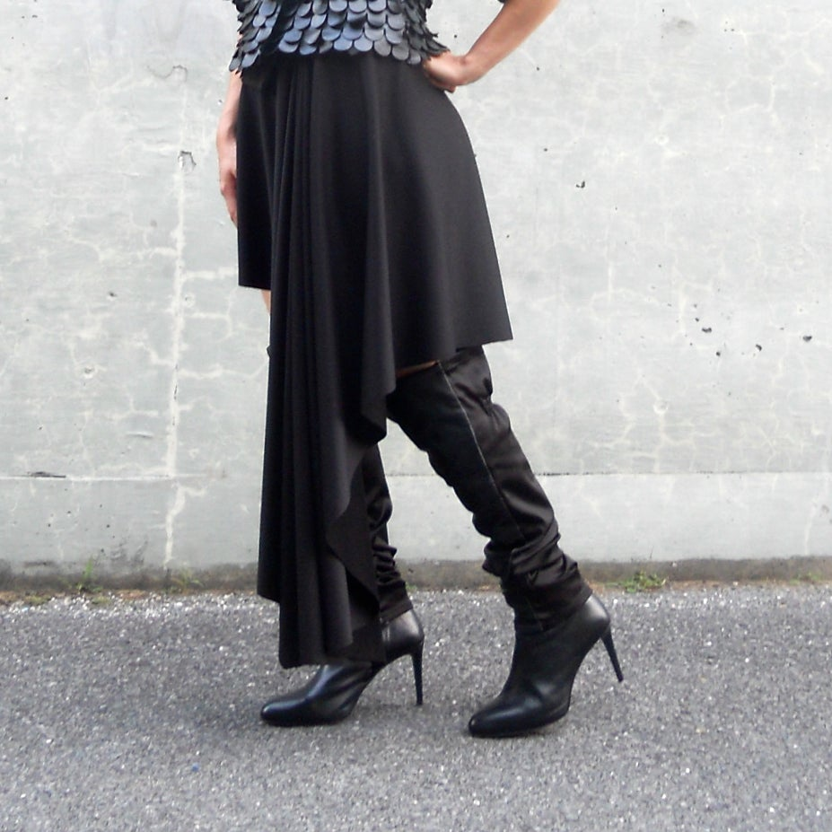 Image of Black Asymmetric Skirt Shawl Pancho