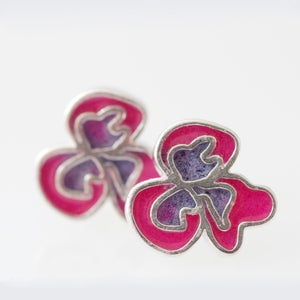 Image of Resinate Flor Studs Earrings- Pink,Violet