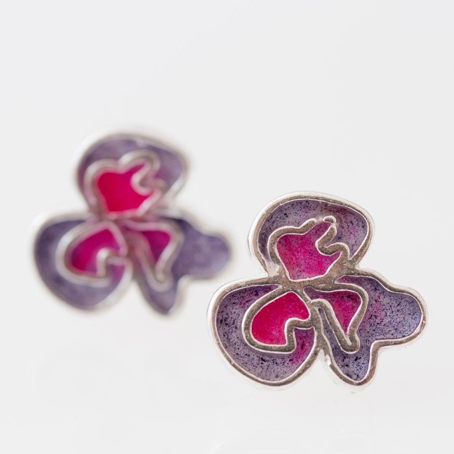 Image of Resinate Flor Studs Earrings- Purple, Pink