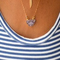 Image of Gold Amethyst Petite SemiCircle Necklace