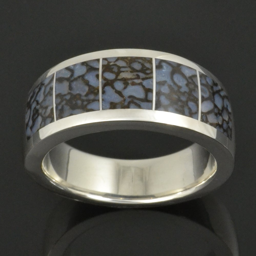 Image of Blue Dinosaur Bone Ring in Sterling Silver