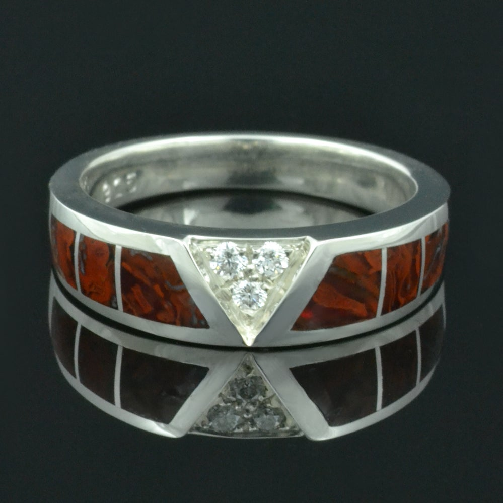 Image of Dinosaur Bone Wedding Ring with White Sapphires