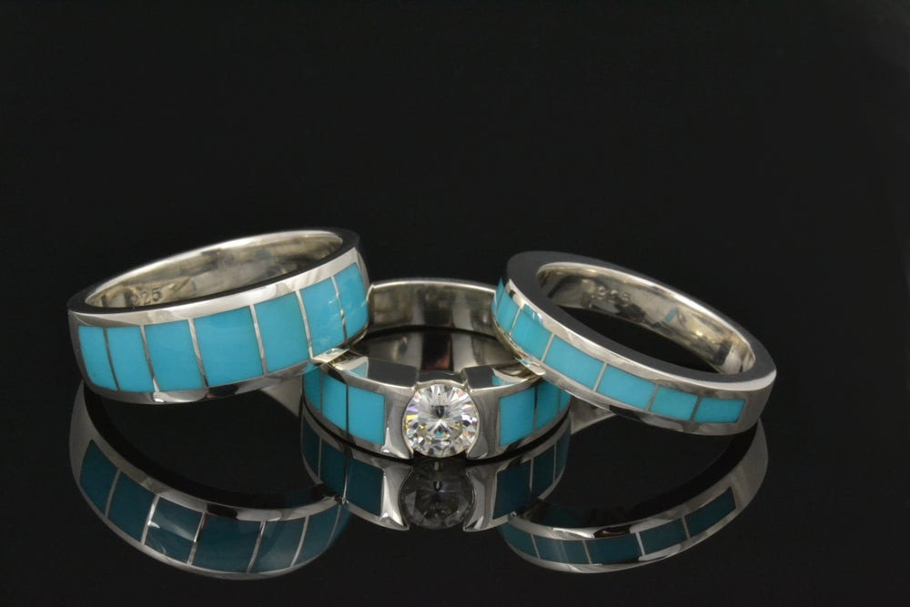 Hileman Silver Jewelry — Turquoise Wedding Ring and Moissanite ...