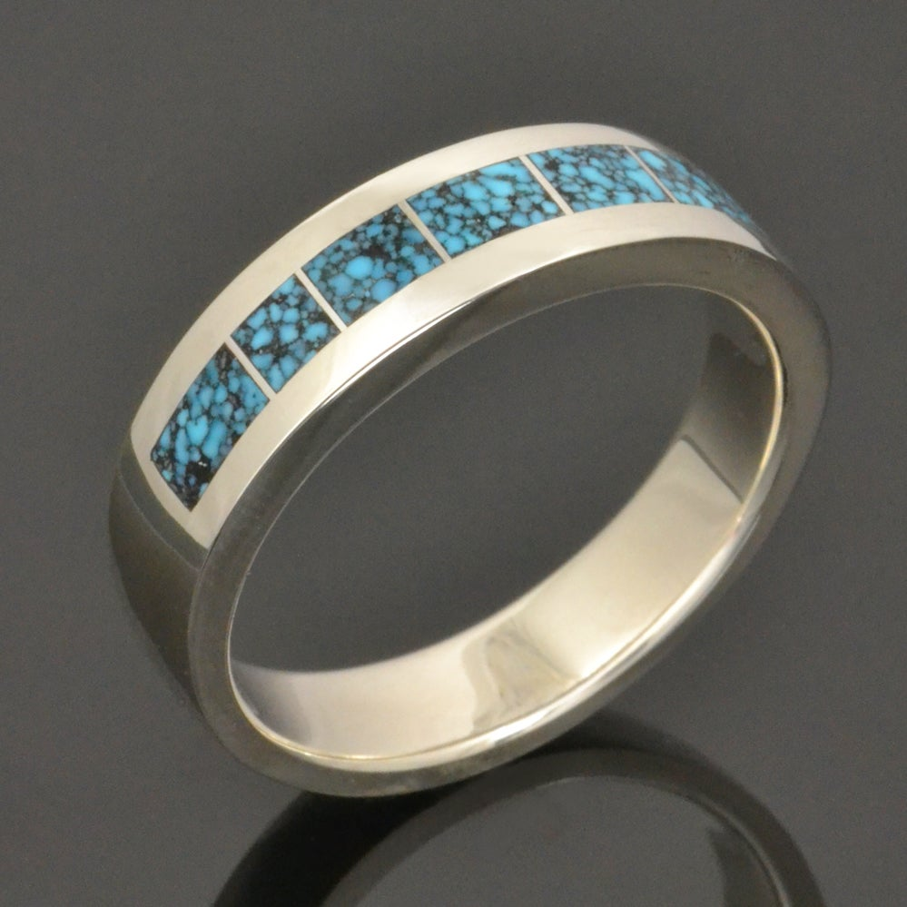 Image of Spiderweb Turquoise Ring in Sterling Silver