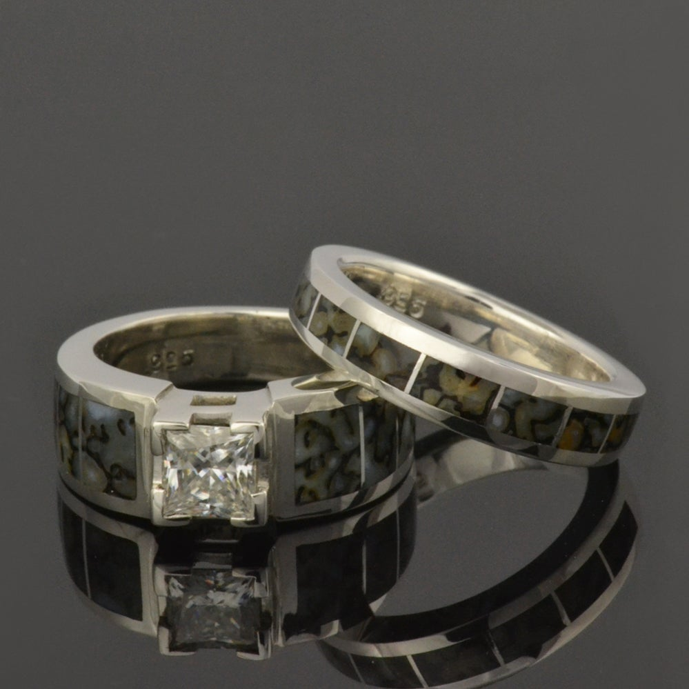 next prev image of dinosaur bone wedding ring and white sapphire engagement ring - White Sapphire Wedding Rings