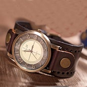 Image of Handmade Vintage Watch / Wrist Watch / Leather Watch / Men's Quartz Watches (WAT00255-Brown)