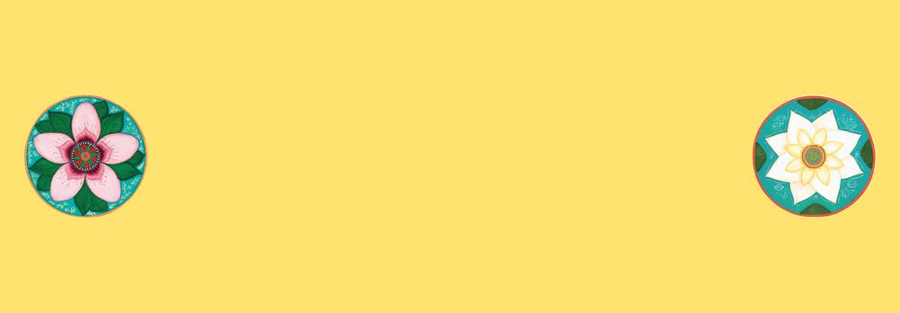 Image of Mandala Yoga Towel-Yellow with Cherry Blossom and White Lotus