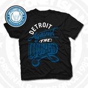 Image of Detroit Against The World Black (White/Royal) Tee