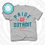 Image of Pride of Detroit Grey (Coral/Teal) Tee