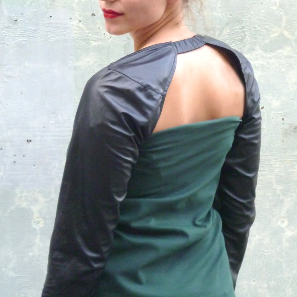 Image of MARIA SEVERYNA - Leather Sleeve Shrug in Black Lambskin Leather