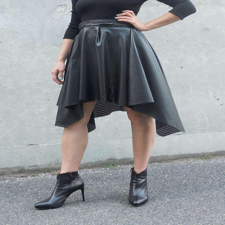 Image of Maria Severyna Laser Cut Faux Leather Skirt in Black