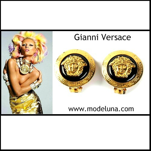 Image of SOLD OUT Gianni Versace Vintage Black and Gold Medusa Clip On Earrings