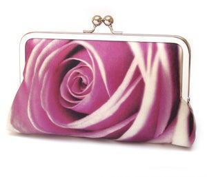 Pink rose petals clutch bag, silk wedding purse, rosa - Red Ruby Rose