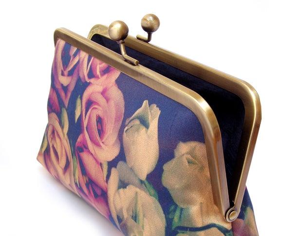 Lisianthus bouquet clutch bag, silk purse, flower wedding handbag - Red Ruby Rose