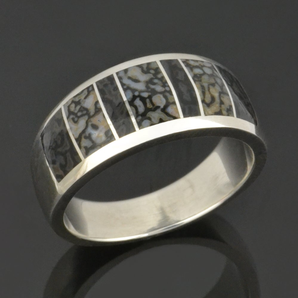 Image of Gray Dinosaur Bone Ring in Sterling Silver