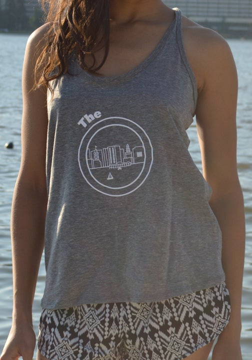 Image of Heather Gray and White Cross Back Tee