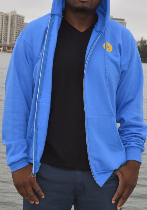 Royal Blue and Yellow Zipper Hoodie / The O Clothing