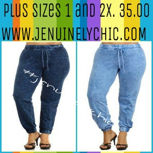 Image of Plus size denim joggers