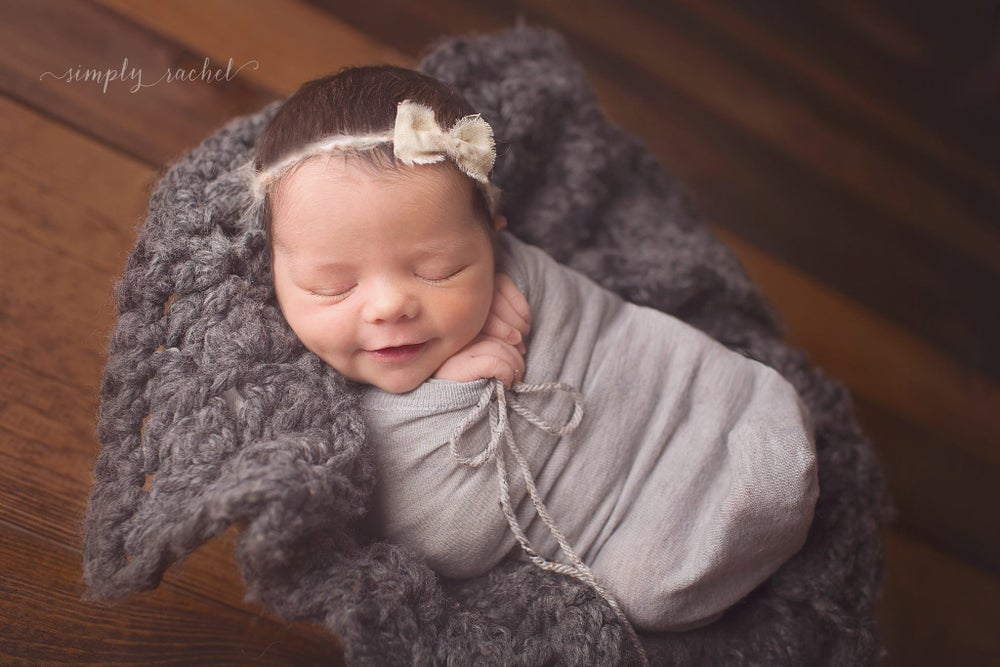 Image of {Linen Weave} bow newborn headband