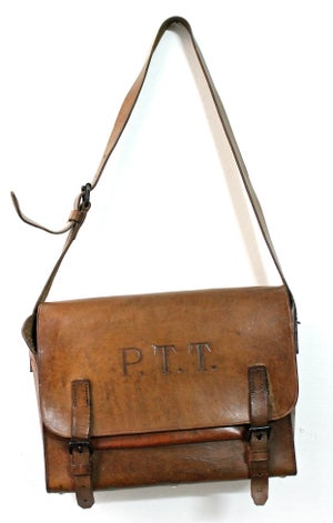 """Image of 1940'S FRENCH POSTMAN """"PTT"""" LEATHER SATCHEL"""