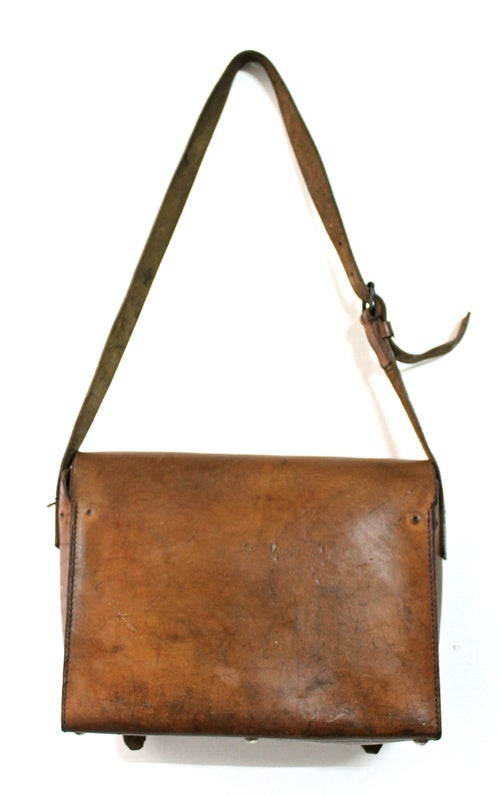 "Image of 1940'S FRENCH POSTMAN ""PTT"" LEATHER SATCHEL"