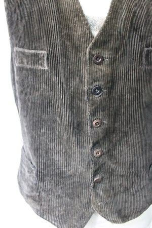 Image of 1930'S FRENCH BLACK CORDUROY WAISTCOAT FADED