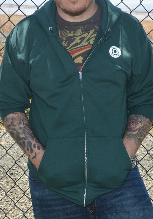Image of Green & White Zipper Hoodie
