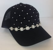 Image of Black Quilt Trucker with Large Crystal Flowers