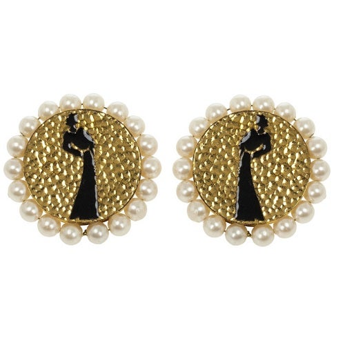 Image of SOLD OUT Chanel Coco Mademoiselle Silhouette Earrings IN MINT CONDITION