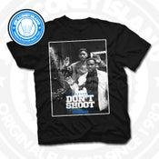 Image of Don't Shoot - black T-shirt Sports Blue trim