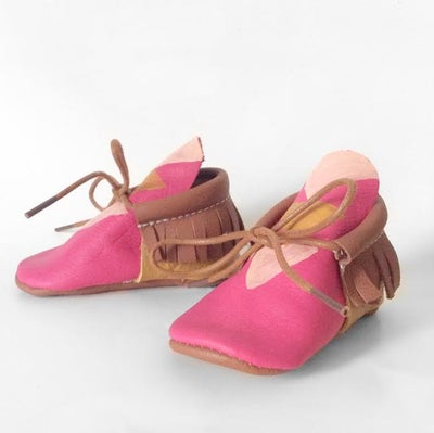 Image of (Pre-Order) Hot Pink Rover Leather Moccasins