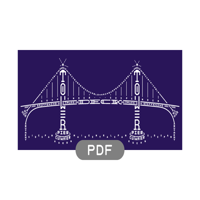 Image of Bridge Typogram - PDF File Download