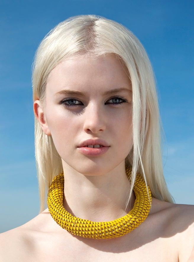 """Image of """"Sunburst"""" Yellow Oversized Leather Neckpiece"""