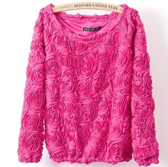 Image of 3D rose sweater