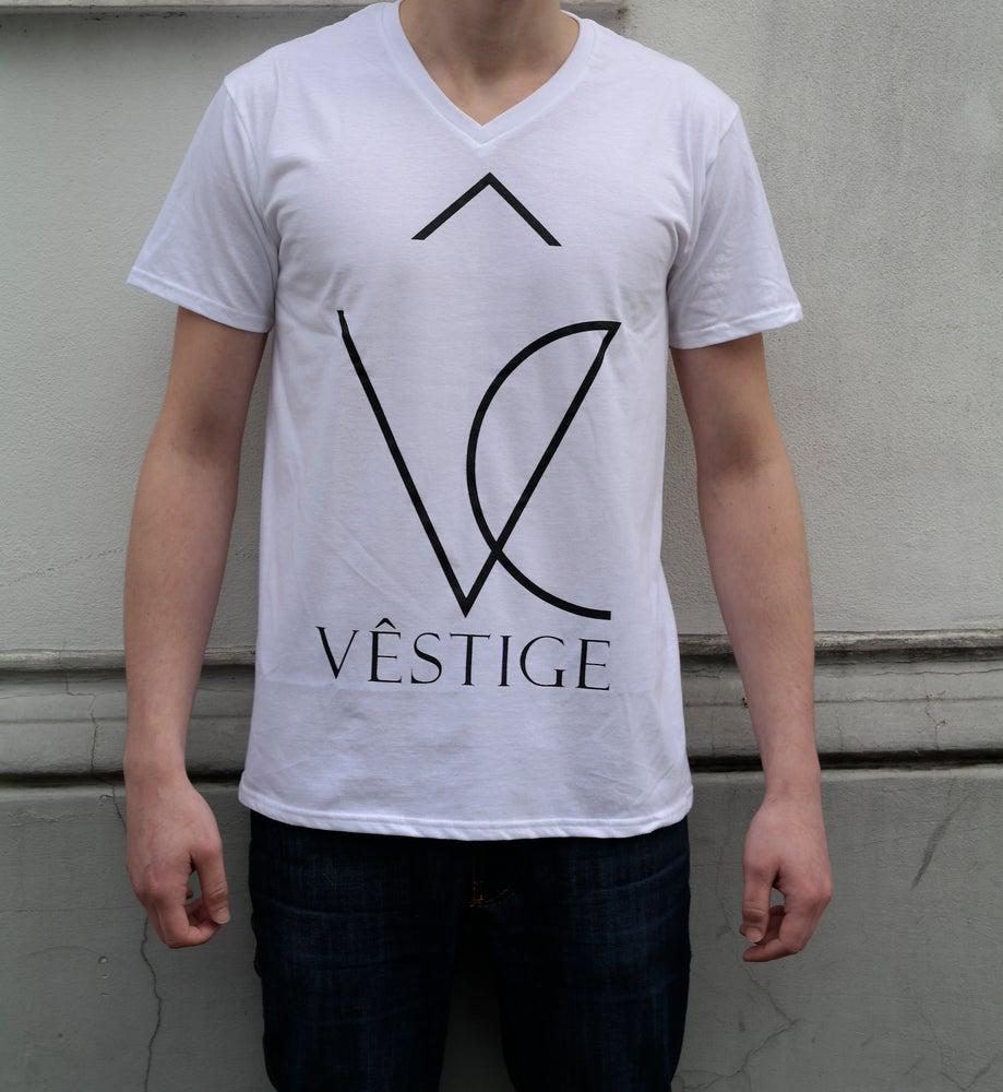 """Image of V-Shirt """"Vêstige Logo"""" white"""