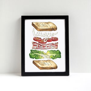 B.L.T. Exploded Sandwich Watercolor Print by Alyson Thomas of Drywell Art. Available at shop.drywellart.com