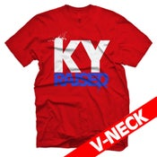 Image of KY Raised V-Neck in Red/White/KY Blue