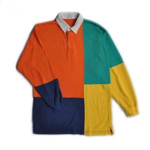 Image of 90s BRIGHT COLOUR BLOCK RUGBY SHIRT