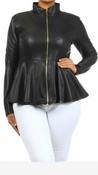 Image of PLUS SIZE Faux Leather Zip Up Jacket