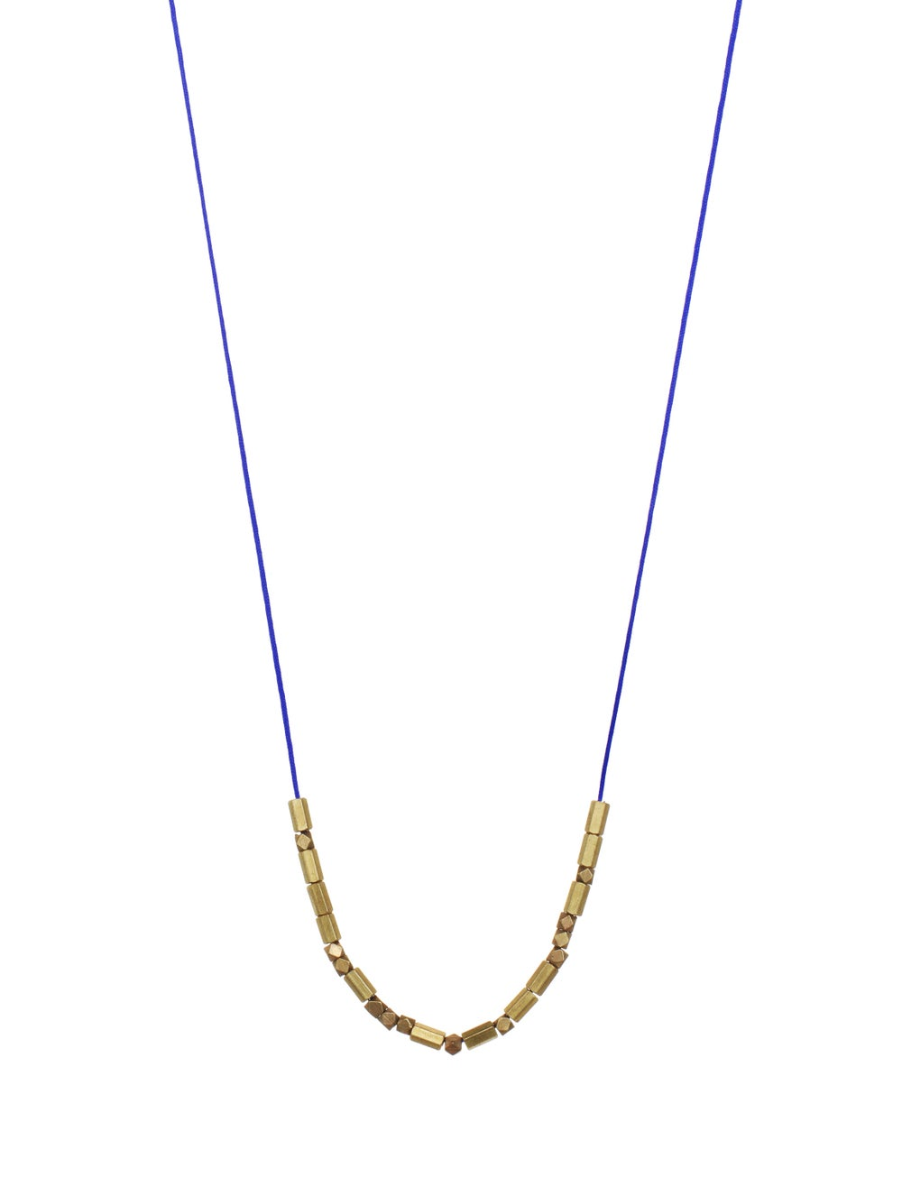 Image of FACETED BRASS BEAD + CORD necklace