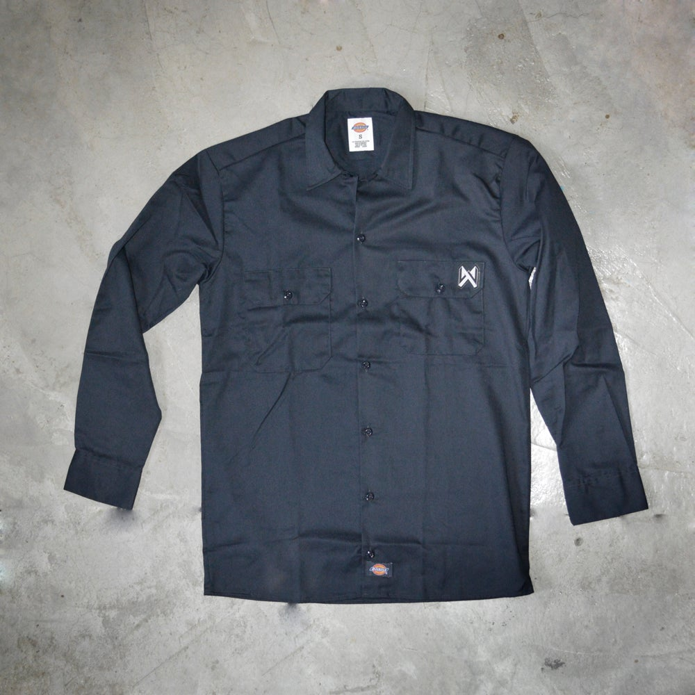 Image of WEIRD X DICKIES SHIRT ( NAVY BLUE ) 574 A