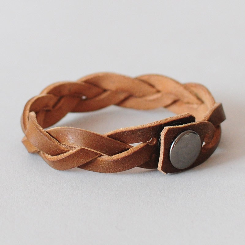 Image of Leather Braided Bracelet - Horween® Shell Cordovan Whiskey