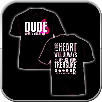 Image of Glow in the Dark T-shirt - Dude Where's Your Heart? (Black)